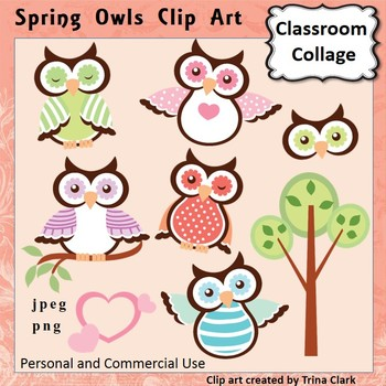 Spring Owls Clip Art  Color  personal & commercial use