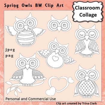 Spring Owls Clip Art line drawings B/W personal & commercial use