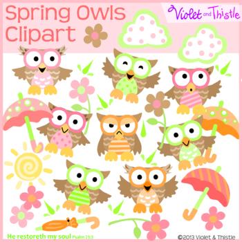 Owl Clipart: Spring Umbrella Flowers Sun Cloud Clip art, Spring Owl Clipart