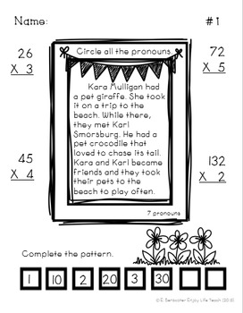 Spring Packet: Math and Language Arts