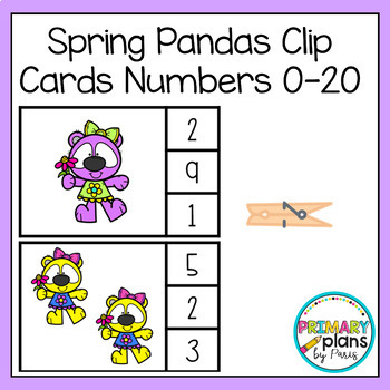 Spring Pandas Clip Cards Numbers 0-20