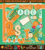 Spring Paper Elements Clip Art Two Color Bundle