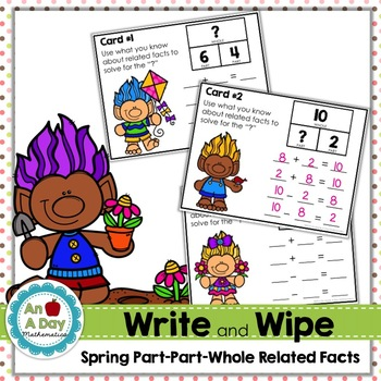Spring Part-Part-Whole Related Facts Task Cards