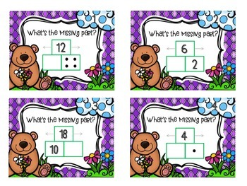 Spring Addition & Subtraction Part-Part-Whole Task Cards - 1.OA.1