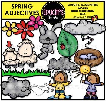 Spring - Parts Of Speech Clip Art Big Bundle {Educlips Clipart}