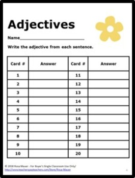 Spring Adjectives Activity