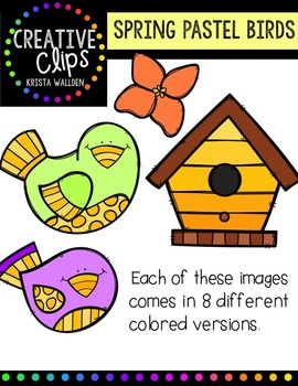 Spring Pastel Birds and Papers {Creative Clips Digital Clipart}