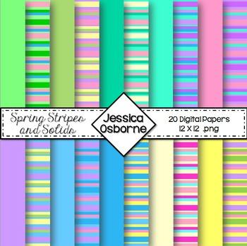 Spring Stripes Digital Papers