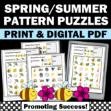 Math Patterns and Shapes, Spring Theme, Kindergarten Math Worksheets