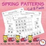 Spring Patterns Worksheets. Cut and paste. AB, AAB, ABB, ABC, AABB, AABC, ABBC..