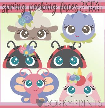 Spring Peeking Faces Clipart