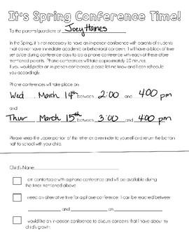 Spring Phone Conference Parent Letter