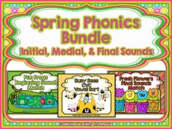 Spring Phonics Bundle ~ Initial, Medial, & Final Sounds