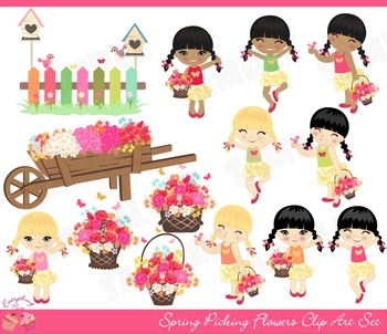 Spring, Picking Flowers Clip Art Set