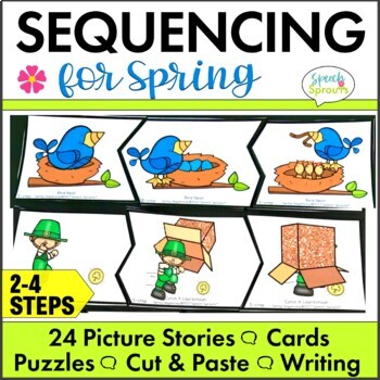 Spring Picture Story Sequencing Activities with Retell & Writing