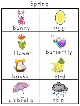 Spring Picture Word Bank and Picture Cards