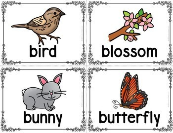 Spring Picture Word Cards and Writing Activities
