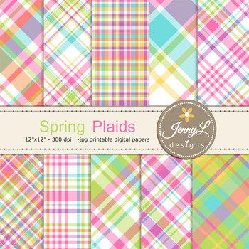 Spring Plaid Digital Papers