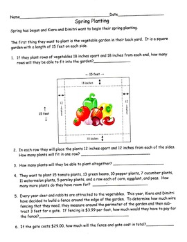 Spring Planting - Word Problems using Measurement and Decimals