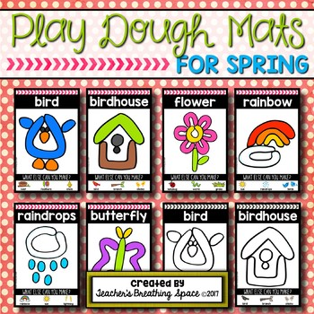 Spring Play Dough Mats --- Six Picture Mats and Ten Ladybug Counting Mats 1-10