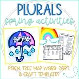 Spring Plurals Activities: Poem, Tree Map Word Sort, & Umbrella Craft