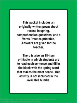 Spring Poem and Literacy Printables