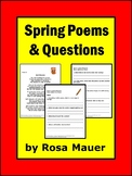 Spring Poems Distance Learning School or At Home Poetry Packet for Kids