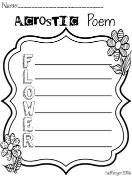 Spring Poetry: Acrostic Poster & Student Forms- FREEBIE