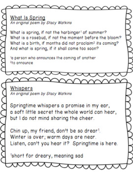 Spring Poetry Mini-Unit for 3rd, 4th, 5th Grade