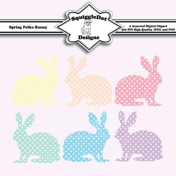 Spring Polka Bunny Clip Art