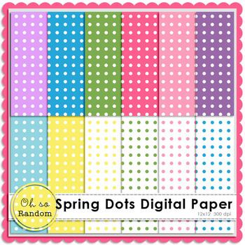 Spring Polka Dot Digital Paper