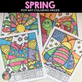 Spring Pop Art Interactive Coloring Pages + Writing | Fun Spring Activity!