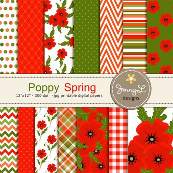 Spring Poppy Digital Paper
