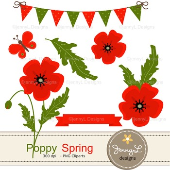 Spring Poppy Flower Clipart By Jennyl Designs Teachers Pay Teachers