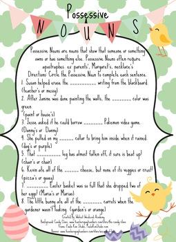 Spring Possessive Nouns Worksheet