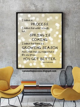 Motivational Quote Poster, Gold Classroom Decor