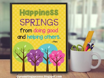 Spring Quote Poster About Happiness Yellow Classroom Decor {Trees}