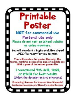 Rainbow Classroom Decor, Inspirational Quote Poster, Chalkboard Theme