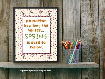 Spring Poster, Springtime Inspirational Quote, 8x10 16x20