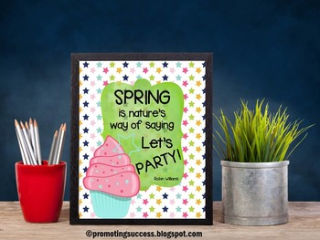 Cupcakes Theme Spring Poster, Inspirational Quote, Star Theme Classroom Decor
