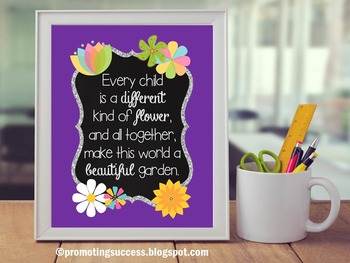 Purple Classroom Decor, Flowers Theme, Diversity Poster, Inspirational Quote