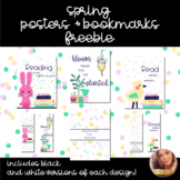 Spring Posters and Bookmarks Freebie - in Black and White