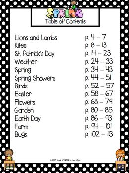 Spring Practice Pages:  NO PREP Math and Literacy Worksheets
