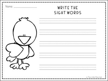Spring Pre-Primer Sight Words Matching Game for Literacy Centers