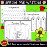 Spring Pre-Writing Tracing Worksheets