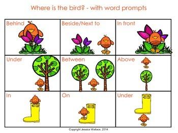 Spring Preposition Flash Cards