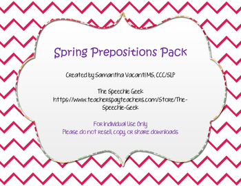 Spring Prepositions Pack