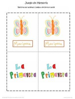 Spring Preschool Worksheets in Spanish / Hojas de trabajo primavera preescolar