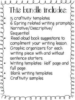 Spring / Primavera- 5 Writing Craftivities Bundle - Spanish