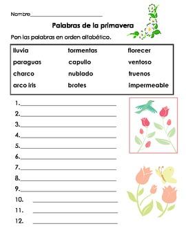 Spring Primavera ABC Order and Poems in Spanish